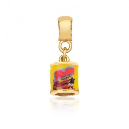 Pingente Berloque de Achocolatado/Amarelo Folheado a Ouro