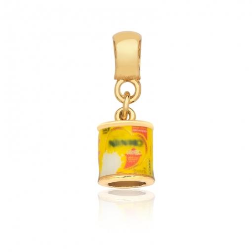 Pingente Berloque com Latinha Amarela Folheado a Ouro