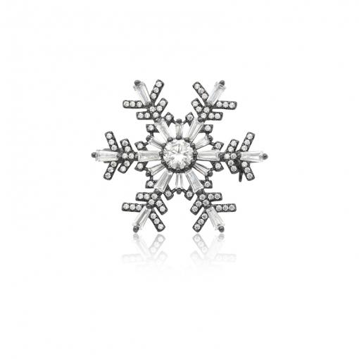 Broche Floco de Neve Zircônias Brancas Folheado a Ródio Negro