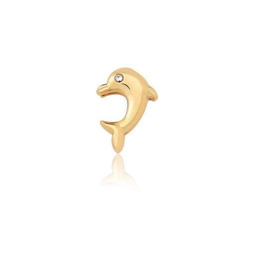 Pingente Esteira de Golfinho Liso e Ponto de Luz em Aço Dourado