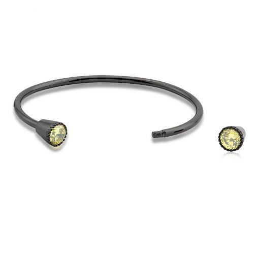 Bracelete com Zircônias Amarelas Folheado a Ródio Negro
