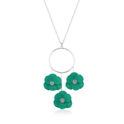 Colar com Pingente Pêndulo Três Flores Verdes Folheado a Ródio