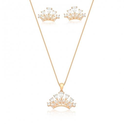 Conjunto Brinco e Corrente Coroa Folheado a Ouro Champagne