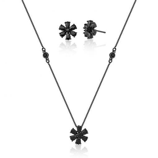 Conjunto Brinco/Corrente e Pingente Flor Folheado a Ródio Negro