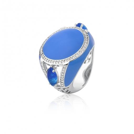 Anel Redondo Esmaltado na Cor Azul Folheado a Ródio
