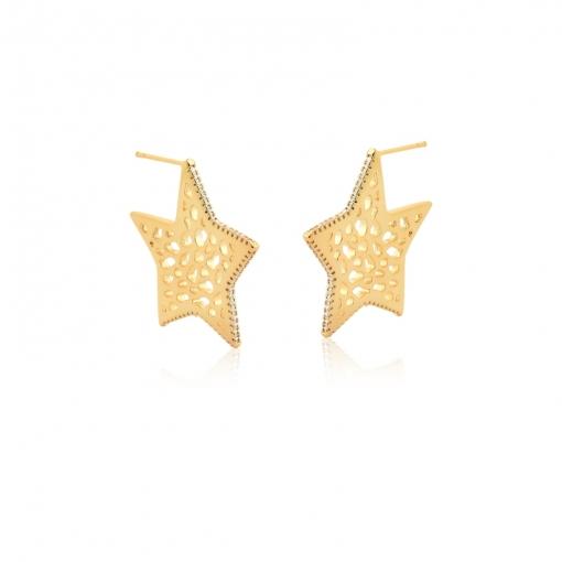 Meia Argola de Estrela Lisa e Zircônias Brancas Folheada a Ouro