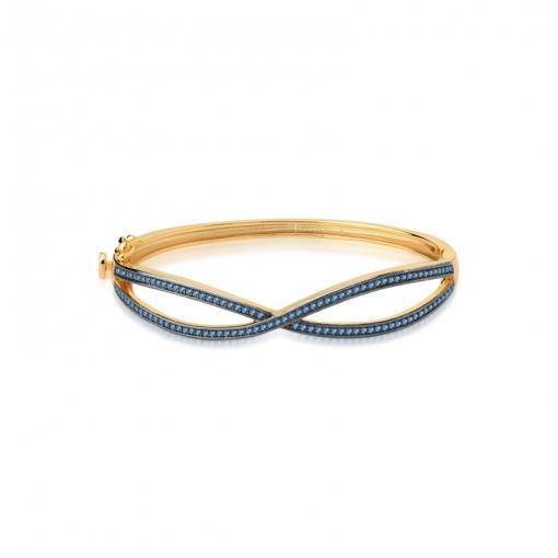 Bracelete Trançado com Zircônias Azuis Folheado a Ouro