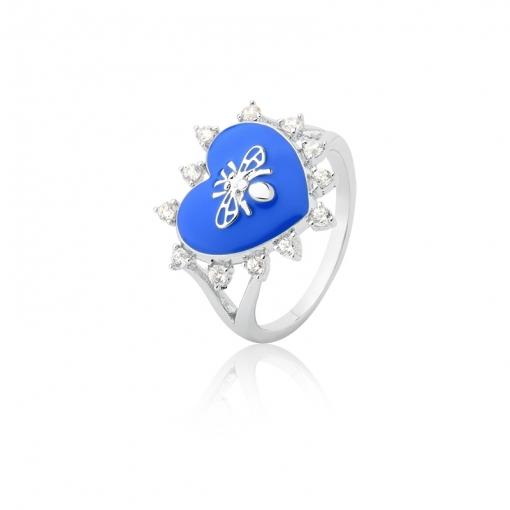 Anel de Coração Esmaltado Azul e Abelha Folheado a Ródo