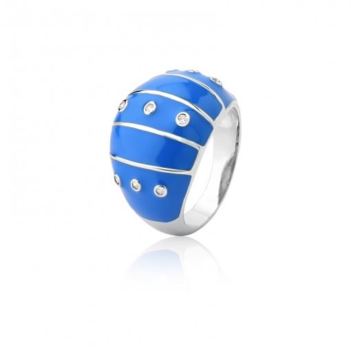 Anel Esmaltado na Cor Azul e Pontos de Luz Folheado a Ródio