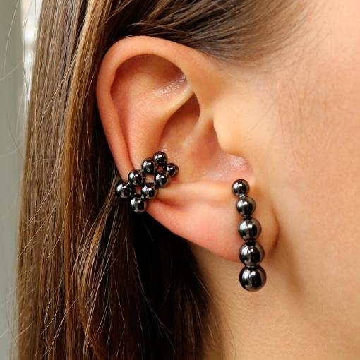 Brinco Ear Hook com Bolas Lisas Folheado a Ródio Negro