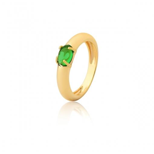 Anel com Pedra Cabochão Oval na Cor Verde Folheado a Ouro