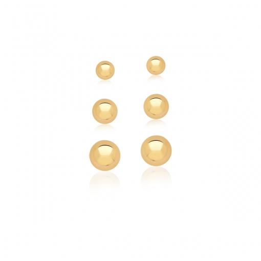 Kit Três Pares de Brincos de Bolas Lisas Banhado a Ouro