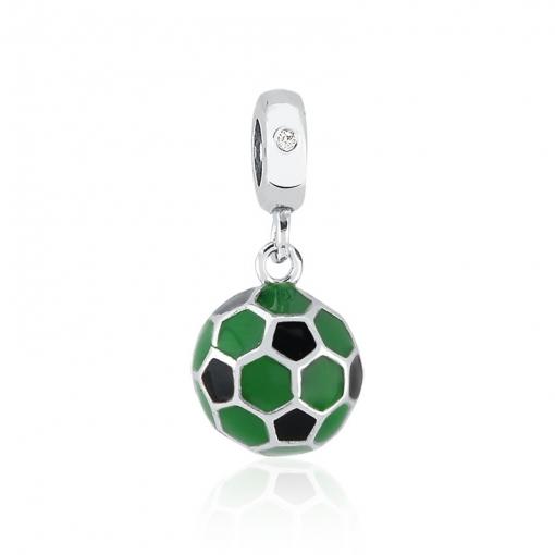 Pingente Berloque de Bola Esmaltado Verde Prata Envelhecida
