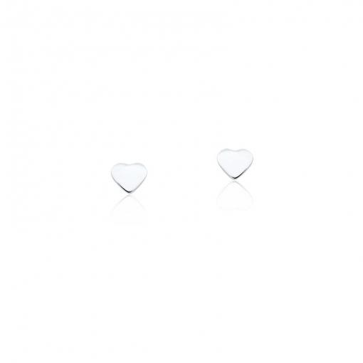 Brinco Segundo Furo de Coração Liso Prata Lisa