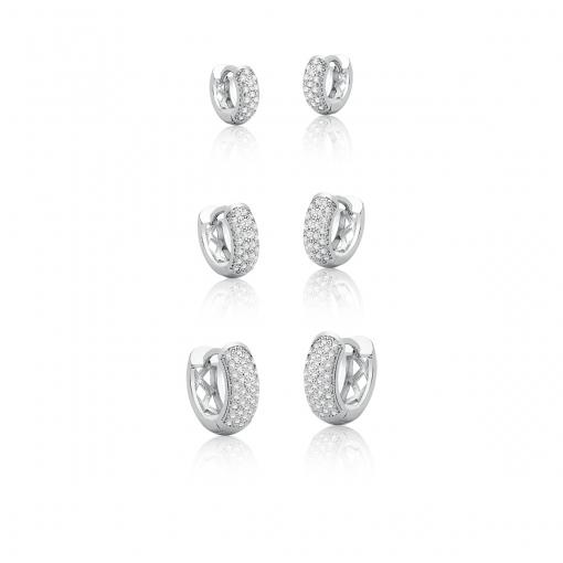 Kit Três Pares de Argolas com Zirconias Brancas Banhado a Ródio