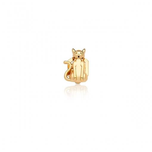 Pingente Esteira de Gato Liso em Aço Dourado