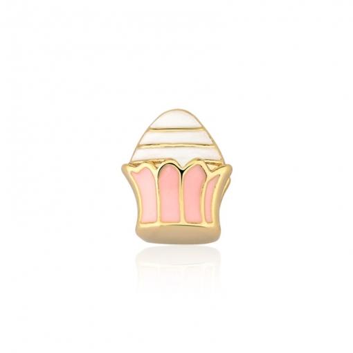 Pingente Esteira Kids Cupcake Esmaltado Rosa em Aço Dourado