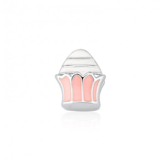 Pingente Esteira Kids Cupcake Esmaltado Rosa e Branco em Aço