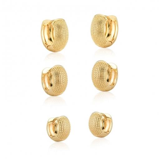 Kit Três Pares de Argolas com Bolinhas Lisas Folheado a Ouro