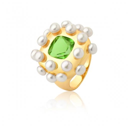 Anel com Cristal Quadrado Verde e Perolas Folheado a Ouro