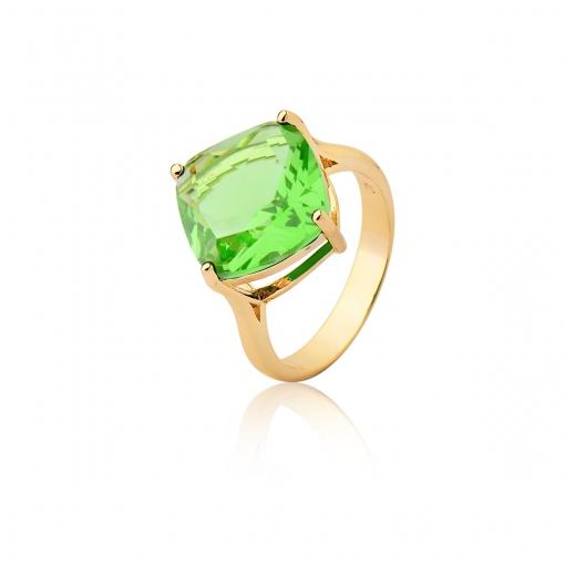 Anel com Cristal Losango Verde Folheado a Ouro