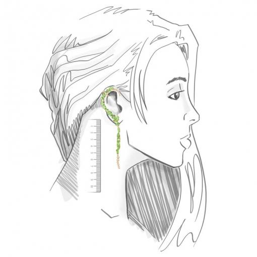 Brinco Ear Cuff Assimétrico com Cristais Verdes Folheado a Ouro