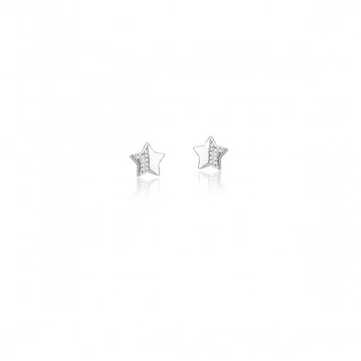 Conjunto Brinco e Corrente com Pingente Estrela Prata Rodinada