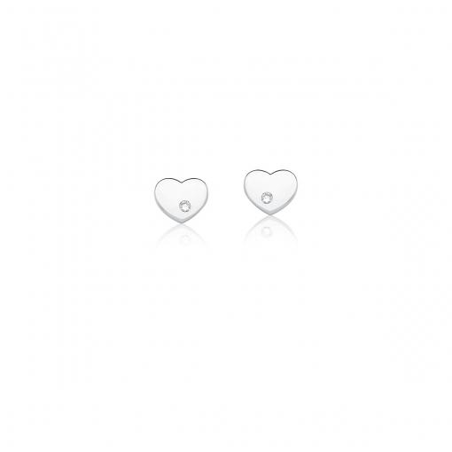 Conjunto Brinco e Corrente com Pingente Coração Prata Rodinada