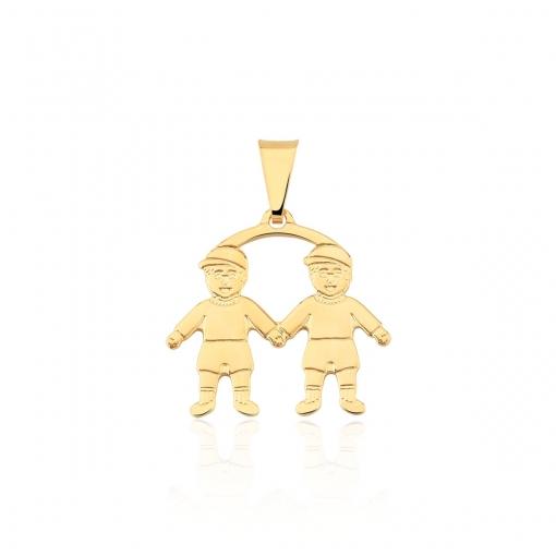 Pingente de Dois Meninos Lisos Folheado a Ouro