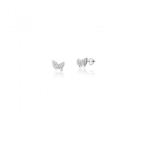 Brinco de Borboleta com Zircônias Brancas em Prata Rodinada
