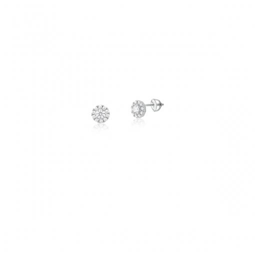Brinco Flor com Zircônias Brancas em Prata Rodinada