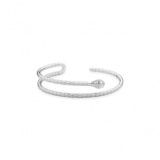 Bracelete de Cobra com Zircônias Brancas Folheado a Ródio