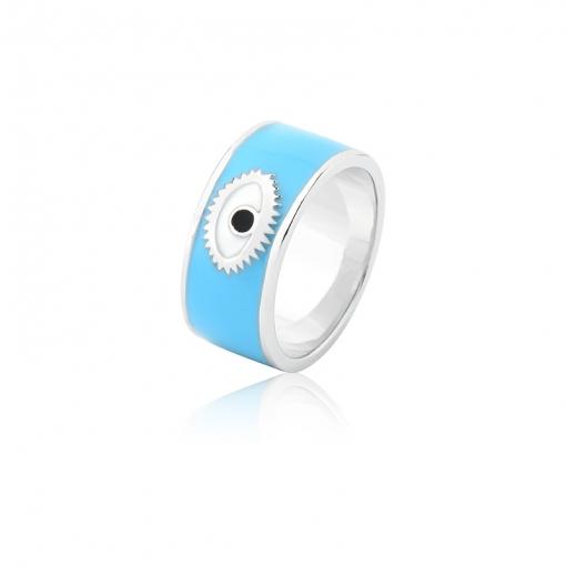 Anel Esmaltado com Olho na Cor Azul Folheado a Ródio
