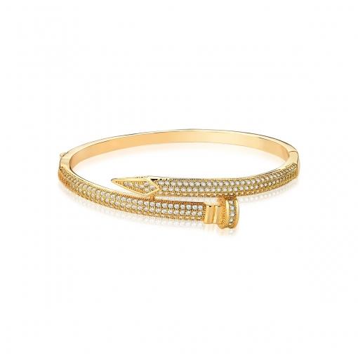 Bracelete Prego com Zircônias Brancas Folheado a Ouro