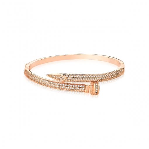 Bracelete Prego com Zircônias Brancas Folheado a Ouro Rosê