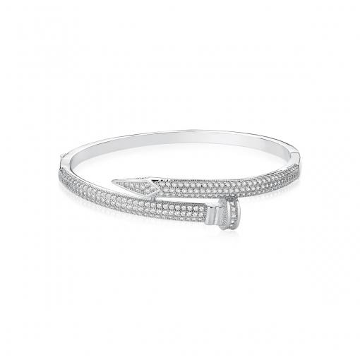 Bracelete Prego com Zircônias Brancas Folheado a Ródio