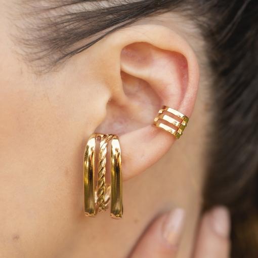 Brinco Ear Hook com Três Fileiras Lisas Folheado a Ouro