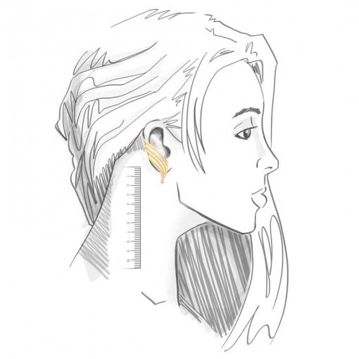 Brinco Ear Cuff de Asa Fosco e Branco Folheado a Ouro