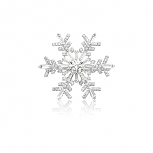 Broche Floco de Neve com Zircônias Brancas Folheado a Ródio