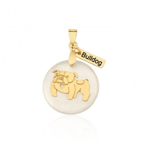 """Pingente em Resina com Imagem de """"BullDog"""" Folheado a Ouro"""