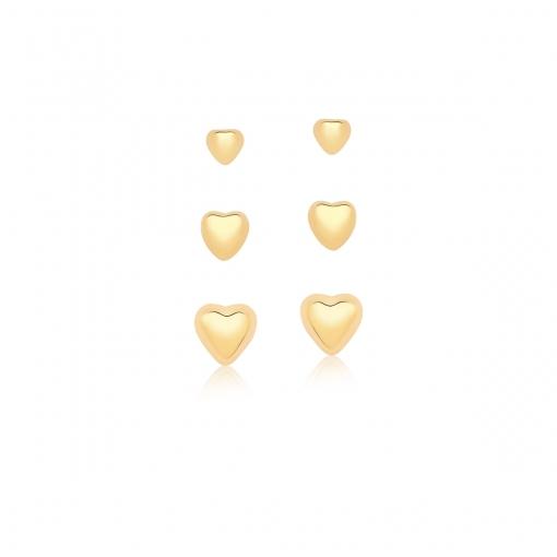 Kit Três Pares de Brincos Corações Lisos Banhado a Ouro