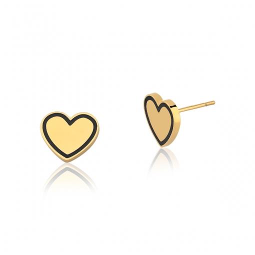 Brinco de Coração Liso e Esmaltado Preto em Aço Dourado