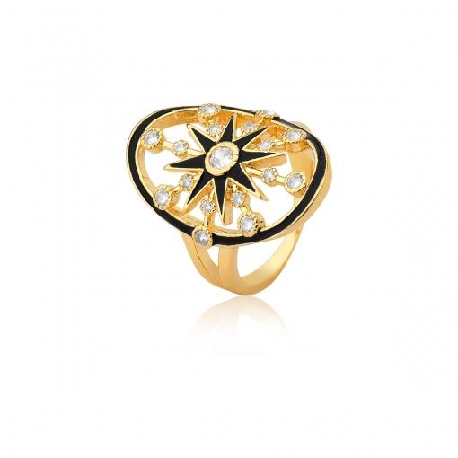 Anel Oval com Estrela Esmaltado Preto Folheado a Ouro