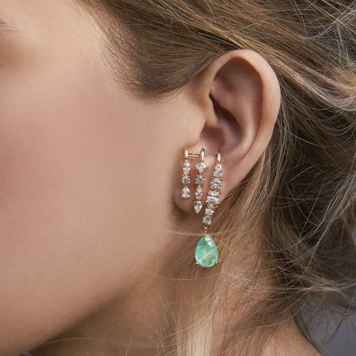 Brinco Ear Hook com Cristal em Gota Turmalina Folheado a Ouro