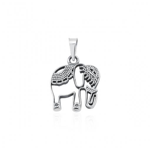 Pingente de Elefante Vazado e Liso em Prata Envelhecida
