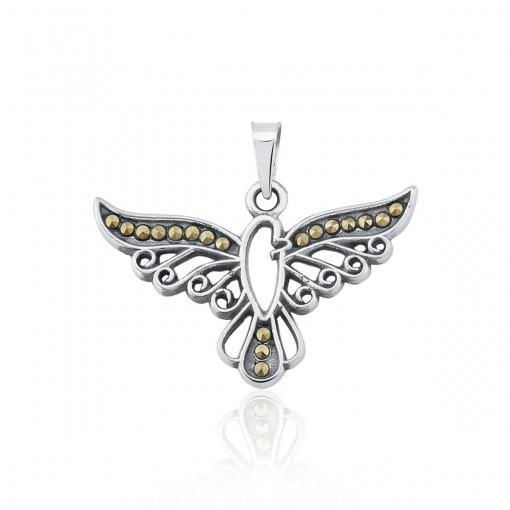 Pingente Espírito Santo Pedras Marcassitas Prata Envelhecida