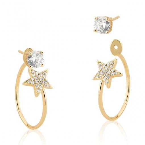 Brinco Ear Jacket com Estrela e Cristal Branco Folheado a Ouro