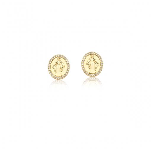 Brinco Oval com Imagem de Deusa Lisa e Branco Folheado a Ouro