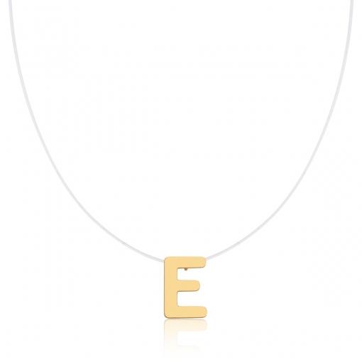 """Corrente Silicone com Pingente Letra """"E"""" Liso Banhada a Ouro"""