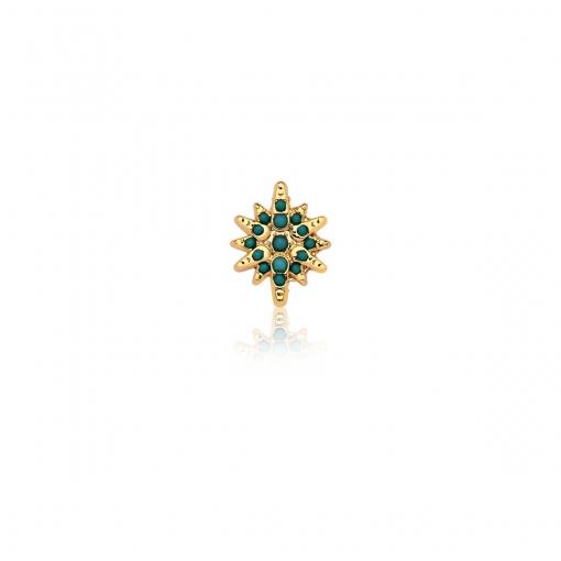 Pingente Esteira de Estrela Nano Turquesa em Aço Dourado